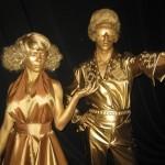 Фотография Мэрилин и Элвиса в золотом цвете живые статуи