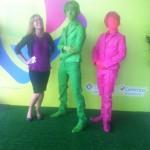 Зеленая и розовая Живые статуи